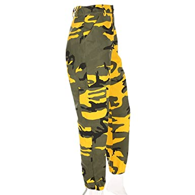 Goerton Camo Pants Women Sweatpants Camouflage Pants Harem Trousers Yellow L bf60a028a1