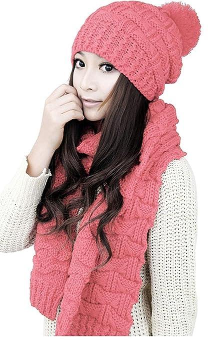 88370d861 Omerker Women Cute and Warm Knit Caps Beanies Hat Two Peice Set for Winter  Headwear (Pink)