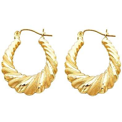 Amazon Com Solid 14k Yellow Gold Shrimp Hoop Earrings Hollow Matte