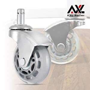 AXL 2.5 inch Office Chair Caster Wheel Replacement for Rollerblade Wheels Heavy Duty Casters for Hardwood Floors Safe (2.5 inch (65mm)-Chrome, Grey/Clear)