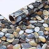 Bestevers 3D cobblestone Self Adhesive Gloss Vinyl Wrap Film Kitchen Countertop Peel Stick Wallpaper Decal 24''x79''