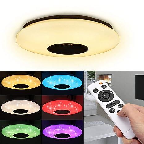 OurLeeme LED Deckenleuchten, Smart APP Fernbedienung RGB Dimmbar Moderne  Deckenleuchte Eingebaute Musik Bluetooth Lautsprecher für Schlafzimmer, ...