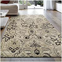 Superior Caldwell Collection Area Rug, 8mm Pile Height with Jute Backing, Gorgeous Patchworked Damask Design, Fashionable and Affordable Woven Rugs, 27 x 8 Runner, Beige