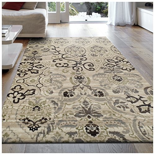 Superior Caldwell Collection Area Rug, 8mm Pile Height with Jute Backing,  Gorgeous Patchworked Damask Design, Fashionable and Affordable Woven Rugs, 8 x 10 Rug, Beige