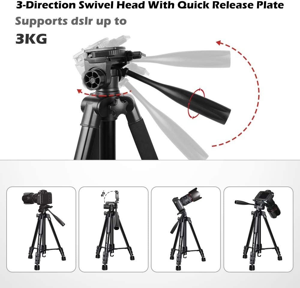 MT60 Aluminum Monopod Tripod Combo Cell Phone SLR UBeesize 60-inch Camera Tripod Lightweight Professional Travel Video Camera Stand with Carry Bag for DSLR