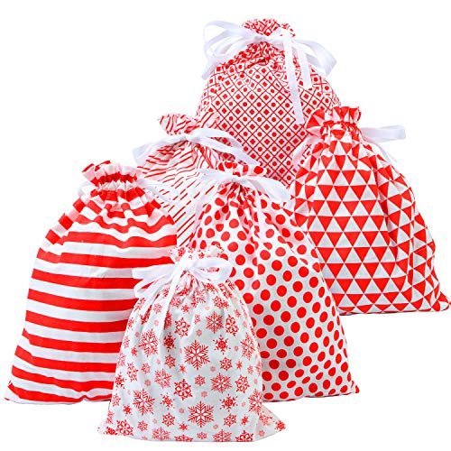 Elcoho 6 Pack Cotton Christmas Gift Bag Party Favors Bags Christmas Santa Drawstring Bag or Christmas, Birthday and Party Celebrations, 2 Size