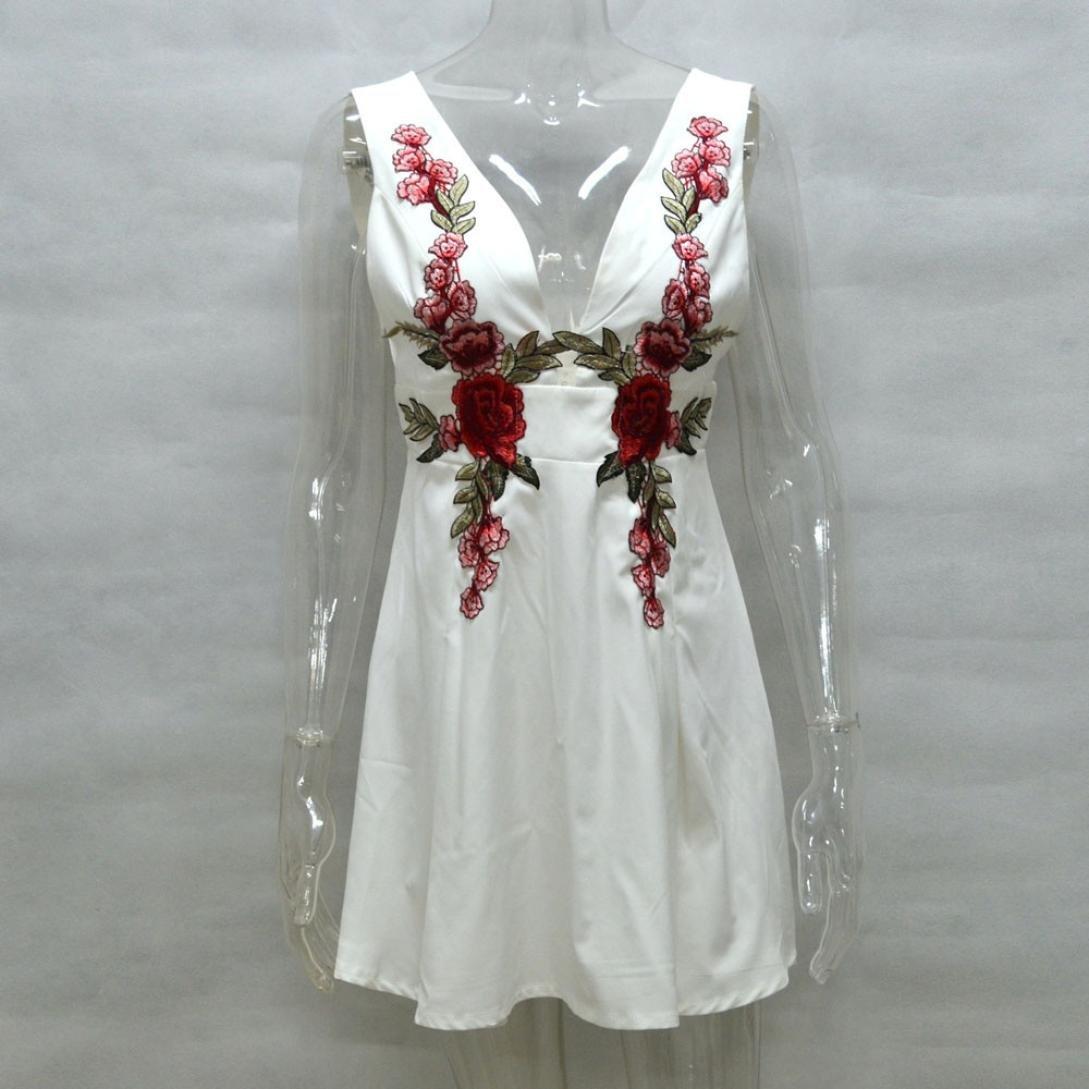 e627917ef ❤️Xinantime Vestido sin Mangas con Cuello en V para Mujer Vestido Floral  Bordado Vestido Corto Fiesta de Noche  Amazon.es  Ropa y accesorios