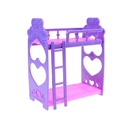 UhoMEy Mini Bouble Bed For Barbie Doll, Kelly Dollhouse Furniture Accessory  Gift For Girls