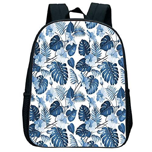 iPrint Comfortable Trumpet black knapsack,Leaf,Palm and Mango Tree Branch and Hawaiian Hibiscus Flower Image,Light Blue Turquoise and Dark Blue,for Children,Diversified Design.11.8