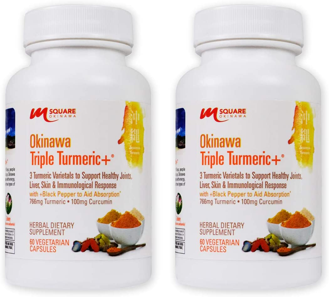 Okinawa Triple Turmeric 3 Turmeric Varietals with Black Pepper to Aid Absorption. Promotes Joint Health and Flexibility with Sport, Training and Exercise Recovery. 120 Vegetarian Capsules.
