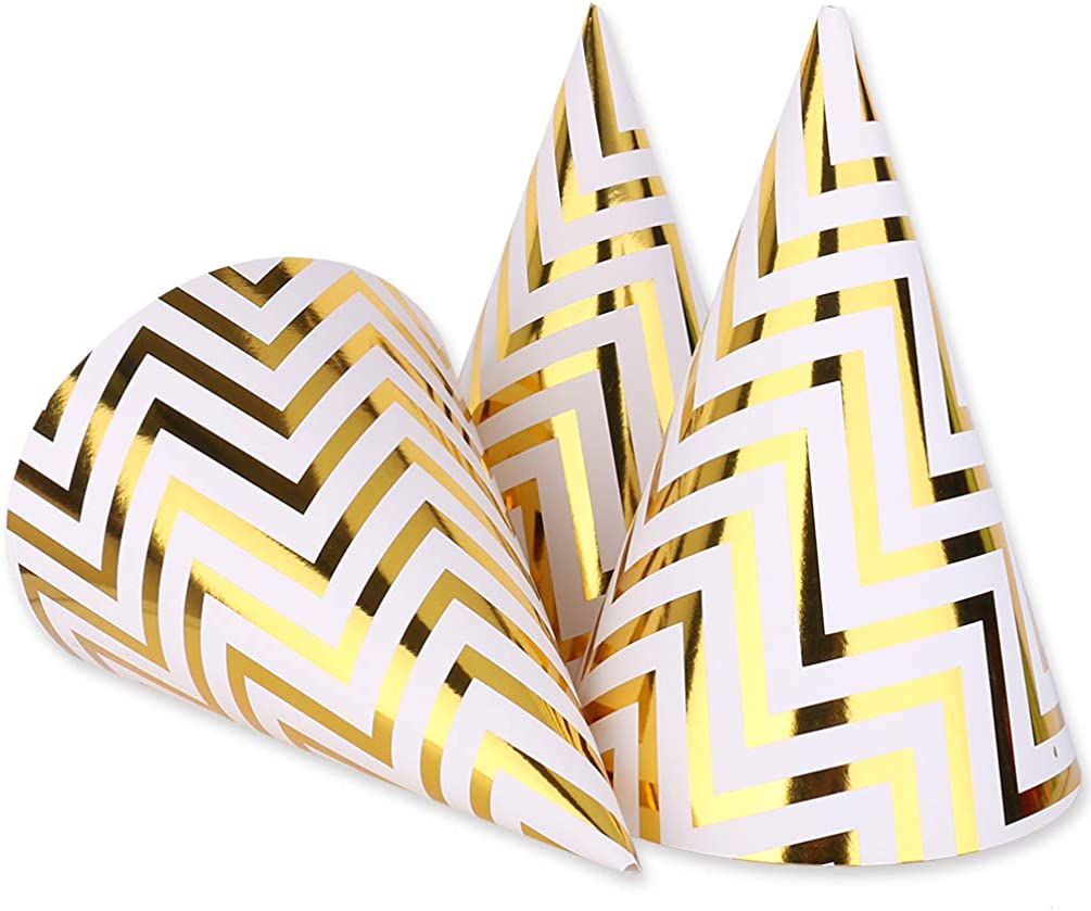 Gold Birthday Party Cone Hats, 12 ct: Clothing