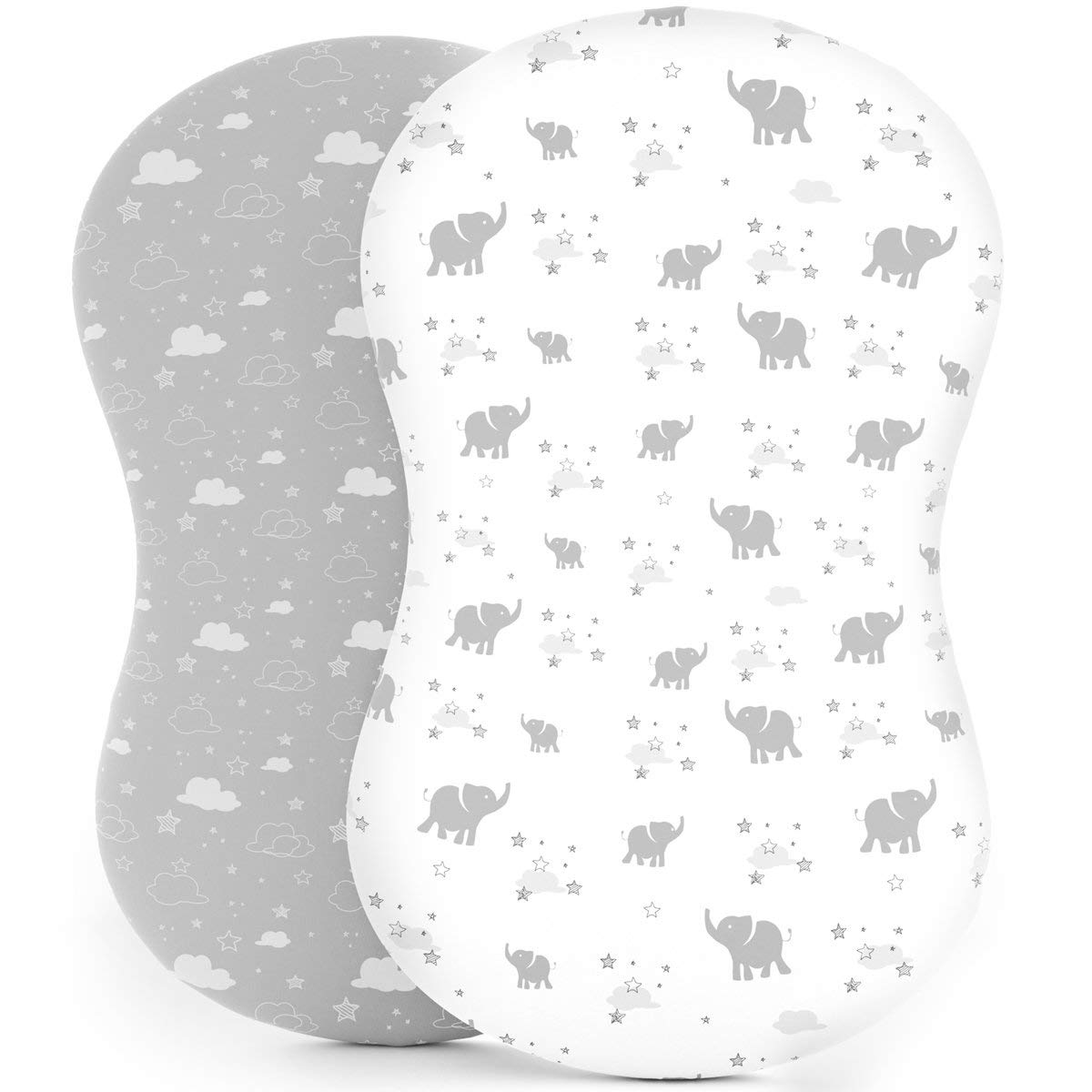 Bassinet Sheets - Fitted, Premium Jersey Cotton - Baby Bedside Sleeper Cover - Universal Sheet Set for Rectangle, Oval, or Hourglass Bassinet Mattress White 2 Pack Unisex - Elephants, Stars, & Clouds