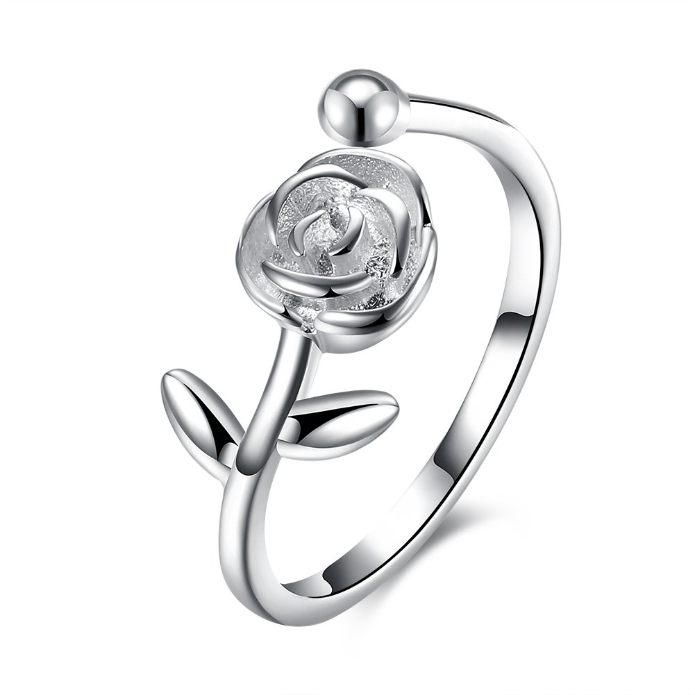 Kalapure S925 Sterling Silver Rose Flower Opening Finger Ring for Women Girls Wedding Band, Adjustable