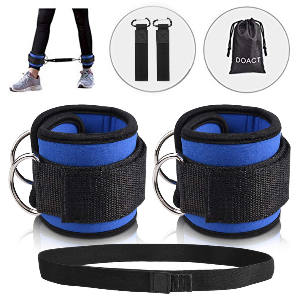 DOACT Fitness Ankle Straps for Cable Machines with Hook and Loop Resistance Band, Double D-Ring Designed, Adjustable Ankle Cuffs for Hip, Leg Strength and Yoga Boxing Workouts