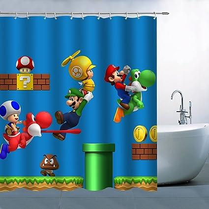 GOODCARE Kids Carton Super Mario Print Bathroom Shower Curtain With 12 Free Hooks Machine Washable