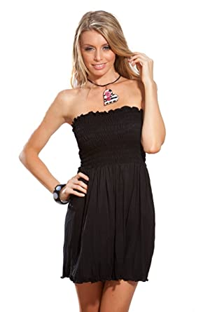 Strapless Pucker Cover Up Dress-Black at Amazon Women's Clothing ...