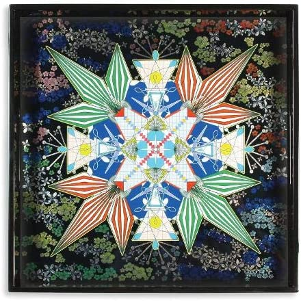 Christian Lacroix Square Lacquer Tray, One Size, Flowers Galaxy