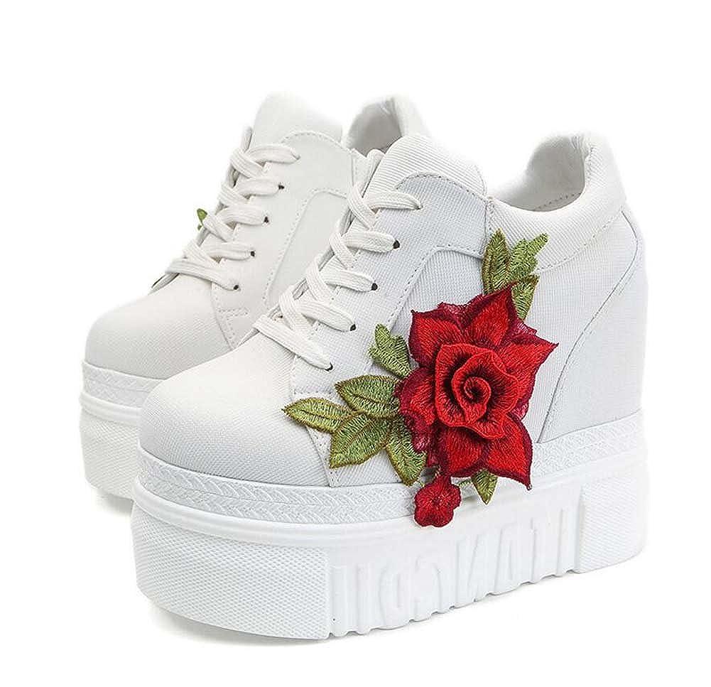 MYI Damen-Keilabsatz-beiläufige Athletische Schuhe Bequeme Wilde 12cm Flache Turnschuhe Schwarz Rot Weiß Größe 35-39