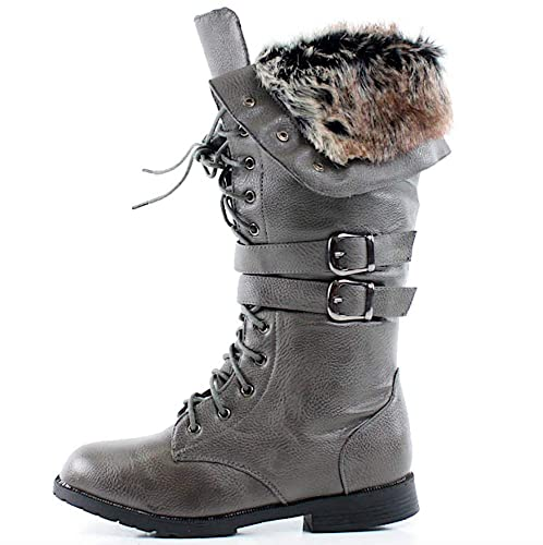 b055b5bc593 Women's Knee High Lace Up Faux Fur Winter Boots in Black, Brown, Tan, Gray,  White, Khaki