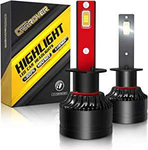 H1 LED Headlight Bulb, CAR ROVER 100W High Power 20,000LM Extremely Bright 6000K CSP Chips Conversion Kit Adjustable Beam