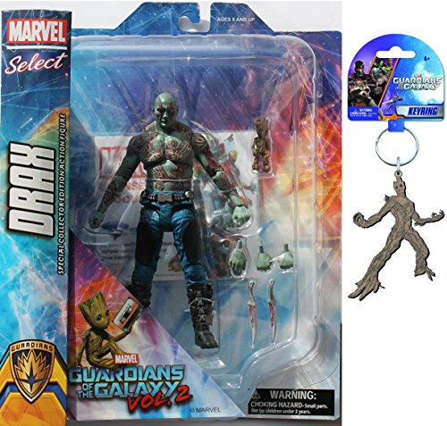 Diamond Select Toys Marvel Select: Guardians of The Galaxy 2 Drax & Baby Groot Action Figure Bundle includes Groot PVC Keyring