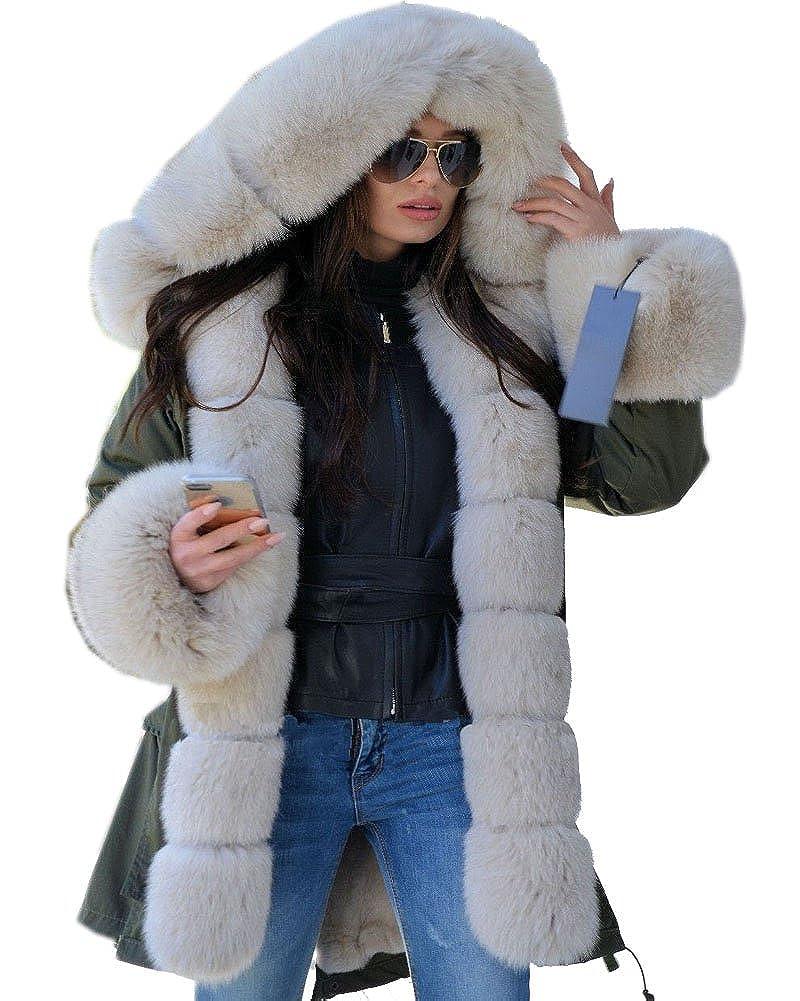 Roiii Women's Elegant Winter Woolen Faux Fur Chic Hooded Slim Jacket Coat Plus Size S-3XL 7010