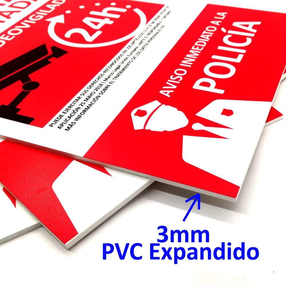 Cartel de Alarma Conectada de PVC expandido de 3mm A4. Resistente al Intemperie y al fuego.