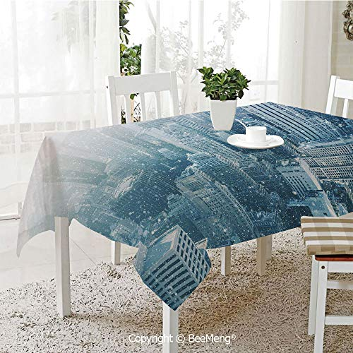 BeeMeng Large Family Picnic Tablecloth,Easy to Carry Outdoors,Winter,Snow in New York City Image Skyline with Urban Skyscrapers in Manhattan United States Decorative,59 x 104 inches ()