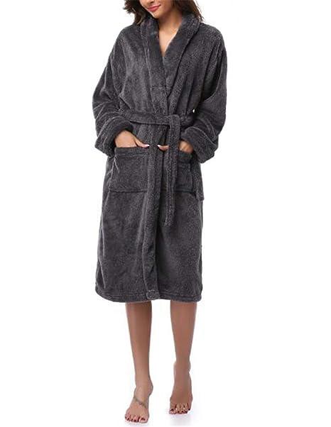 Mujer Albornoces y Batas Invierno cálido Mujer túnicas Coral Polar Ropa de Dormir Larga túnica Mujer Hotel SPA Felpa Albornoz sólido camisón Kimono Pijama: ...