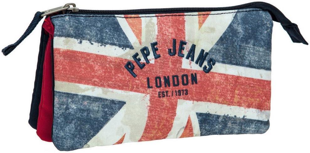 Pepe Jeans Estuche Niño con 3 Compartimentos, Diseño London Bandera: Amazon.es: Equipaje