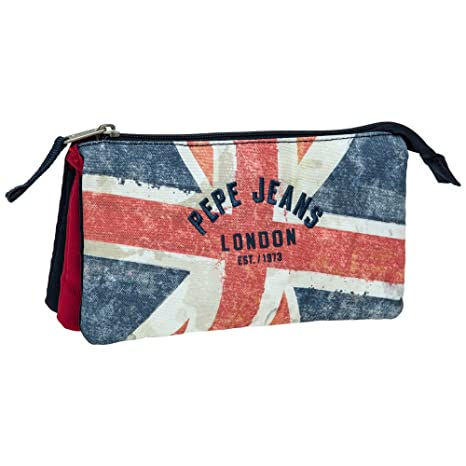 Pepe Jeans Estuche Niño con 3 Compartimentos, Diseño London Bandera