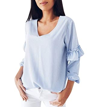 Camisas Mujer,Modaworld Blusa de Tops con Volantes de Manga Larga a Rayas