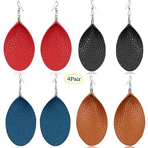 - 4/6 Pairs Teardrop Antique Leather Earrings - Lightweight Leaf Drop Earrings Gift For Women Girls