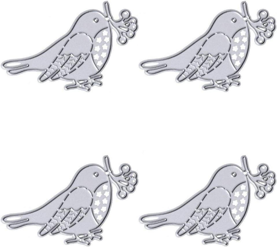 4PCS Bird Metal Cutting Dies Cute Animal Die-Cut for Scrapbooking Card Photo Album