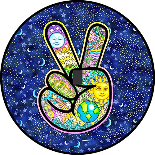 Tire Cover Central Peace Sign Hand Earth Love Sun Moon Spare Tire Cover with Back up Camera Opening for Jeep JL JLU(245/75r17 Back up Camera, Black) Dan ()