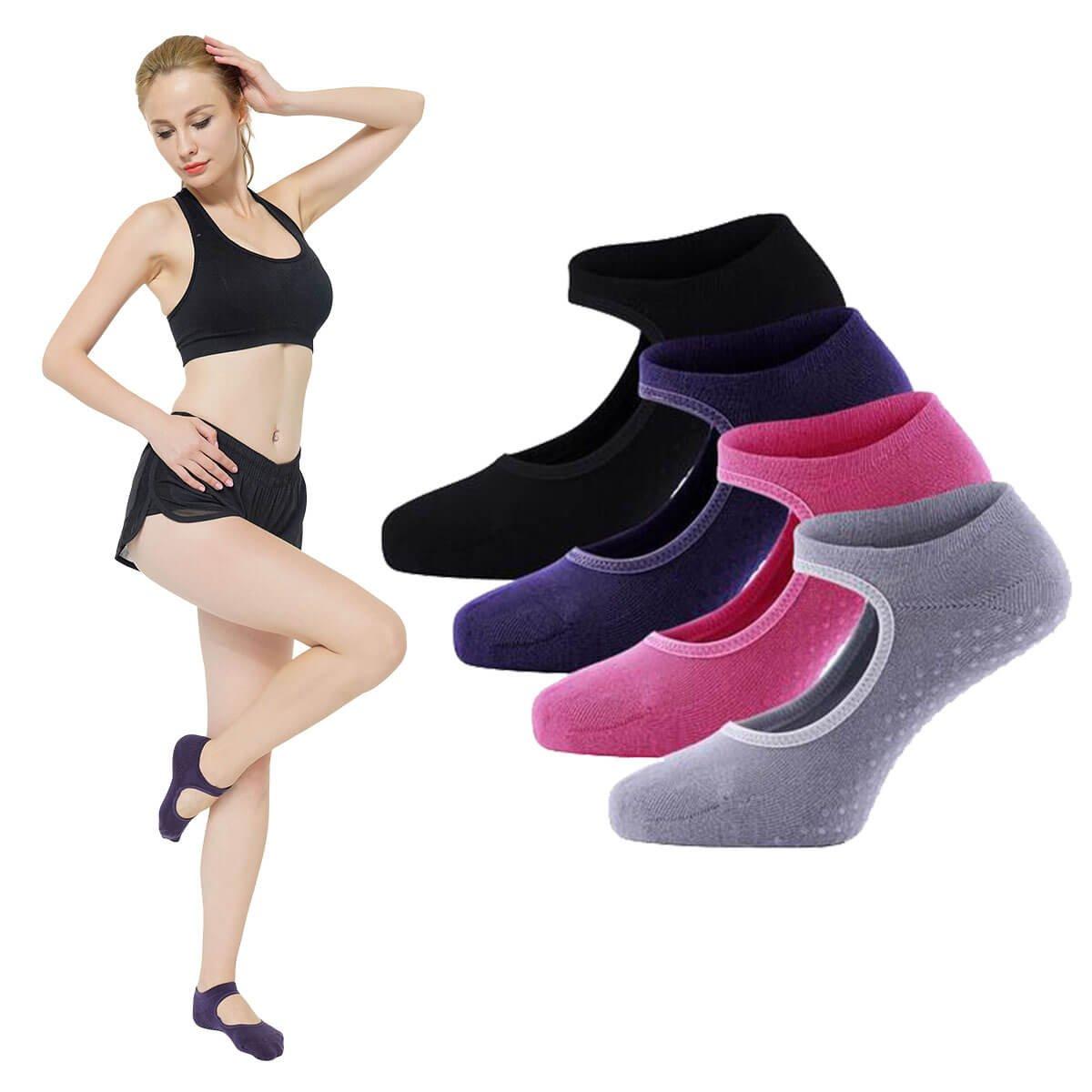 LIBRUONE Yoga Barre Socks Non Slip Skid for Barre Pilates Ballet 4 Pairs Cotton Socks One Size 5 10 …