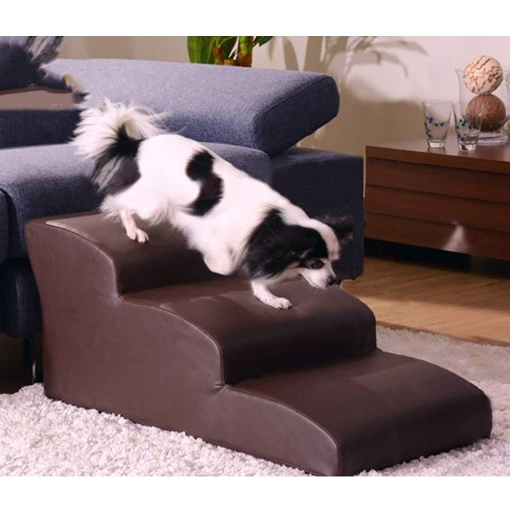 WGE Brown Pet Stairs Cats Steps Waterproof PU Leather Non-Slip Bottom 3 Steps Portable Ramp for Little//Middle//Large Dogs
