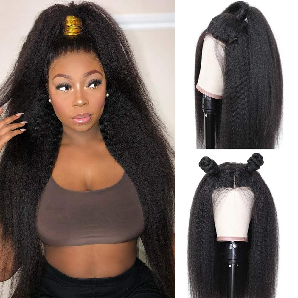 360 Kinky straight human hair wig pre plucked with baby hair 360 Lace front wigs yaki for black women human hair wigs (16, natural off black color)