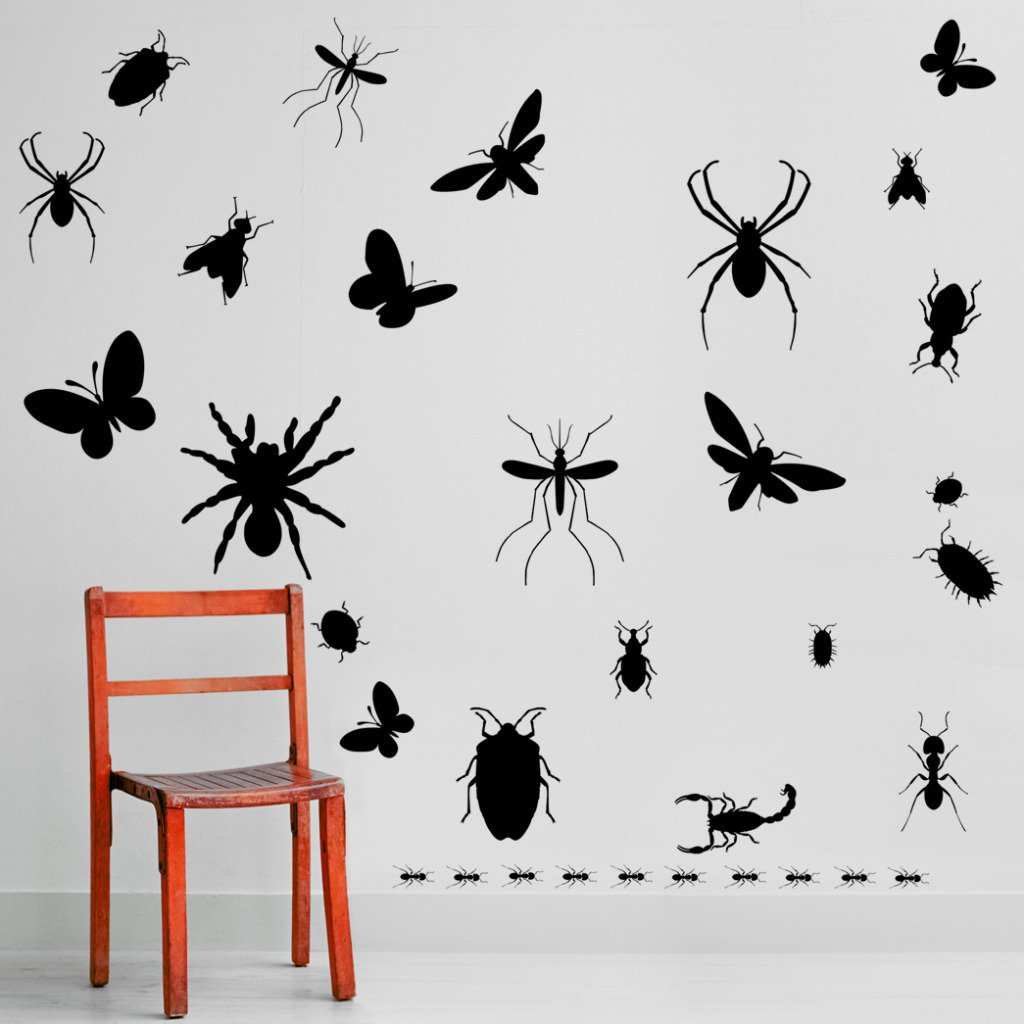 Colourful Butterfly Silhouette Pack of 38 Wall Art Stickers Decals Butterflies