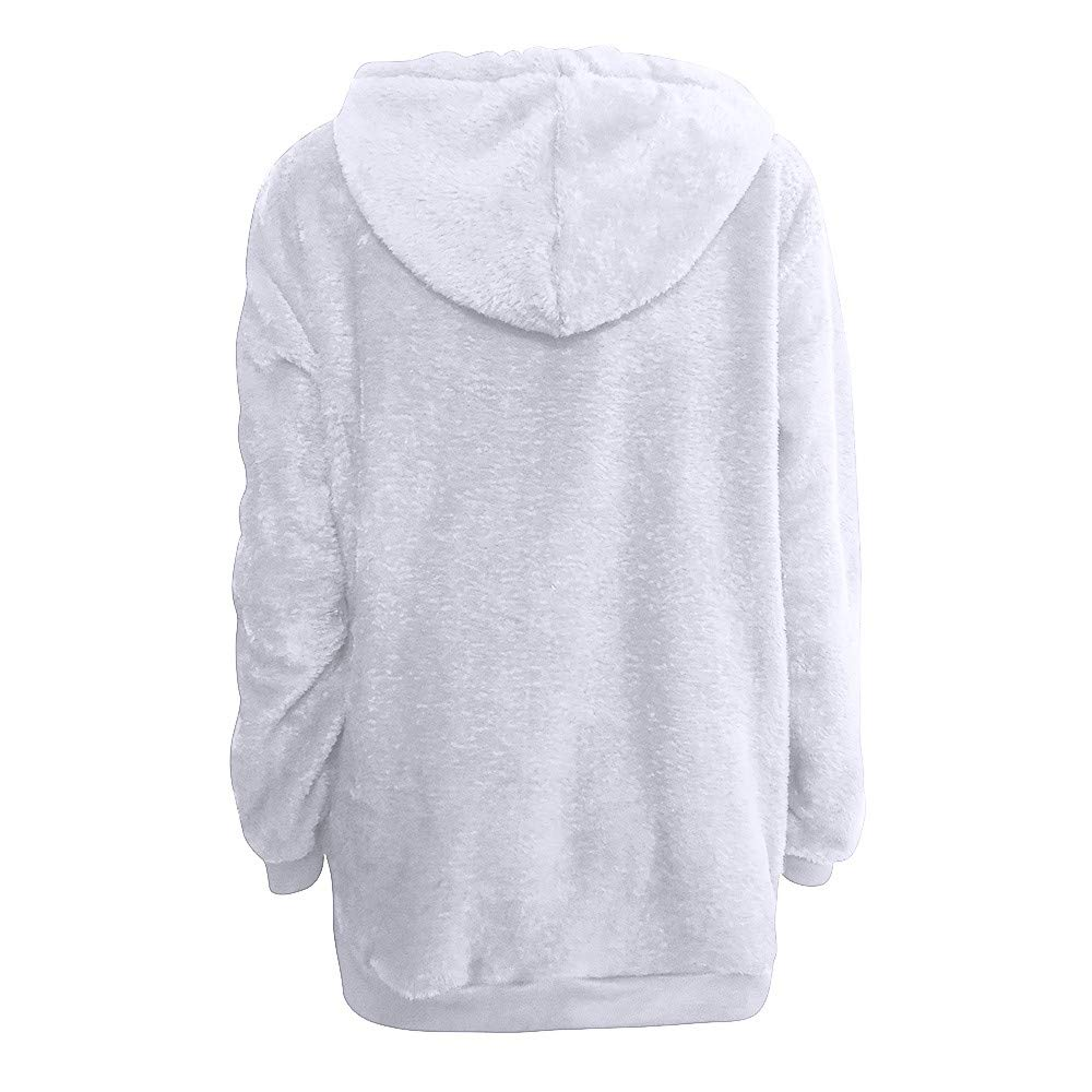 Women Hooded Sweatshirt Coat Winter Warm Wool Zipper Pockets Cotton Coat Outwear Oversized