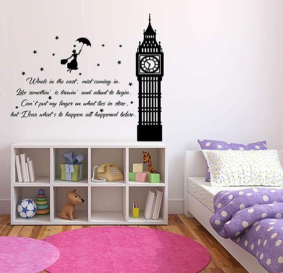 12239 Wall Tattoo Mary Poppins Umbrella Stars Kid/'s Room Comic Sticker