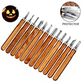 Wood Carving Knife, Intsun 12 Set SK2 Carbon Steel Wood Carving Tools Kit Handmade Crafting Chisel Knife for Kids Adults Beginners Professionals with Reusable Pouch
