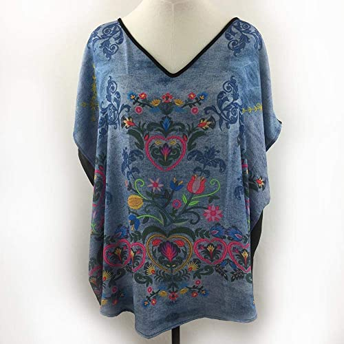 719e1a8a95d011 Image Unavailable. Image not available for. Color: Bohemian Embroidery &  Denim Hi-Low Tunic V-Neck Blouse Plus Size 1X