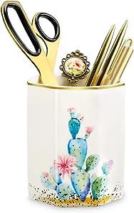 MISIGAR Pen Holder, Cute Pencil Holder, Cactus Pattern Makeup Brush Holder, Pencil Cup Holder, Desk Decor for Girls Kids Women,Ceramic Desk Organizer for Office & Home,Cactus