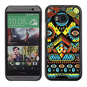 CaseCaptain Carcasa Funda Case - HTC One M8 / Psychedelic Colors Pattern Monster /