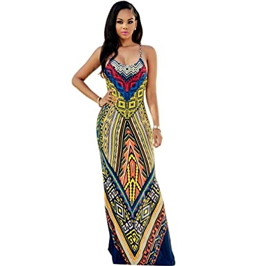 a5bc0ef8a1 TINYHI Women's Reyna Yellow Multi-Color Aztec Print Maxi Dress Size ...