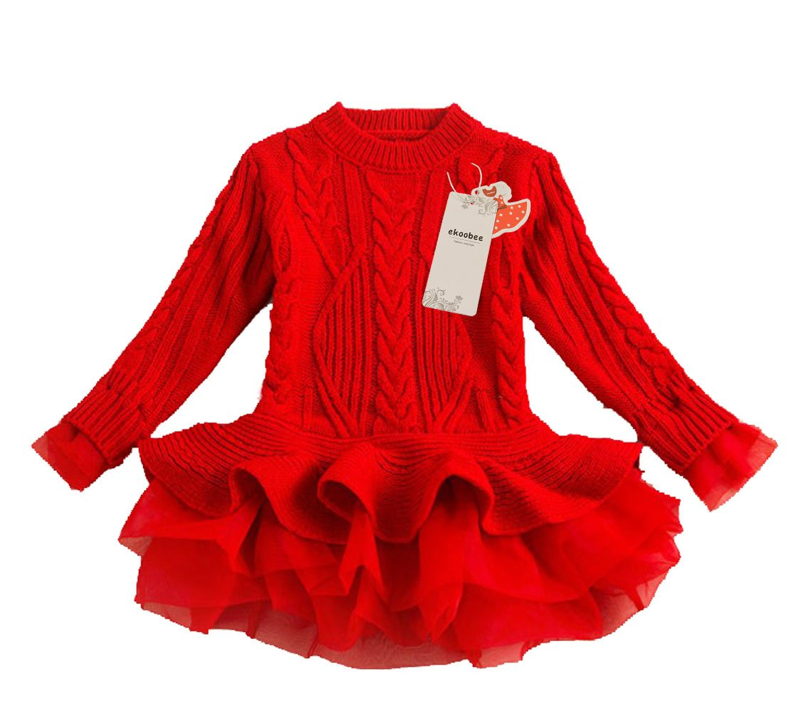 Nachi Baby Little Girls Pullover Knit Winter Sweater Dress Top