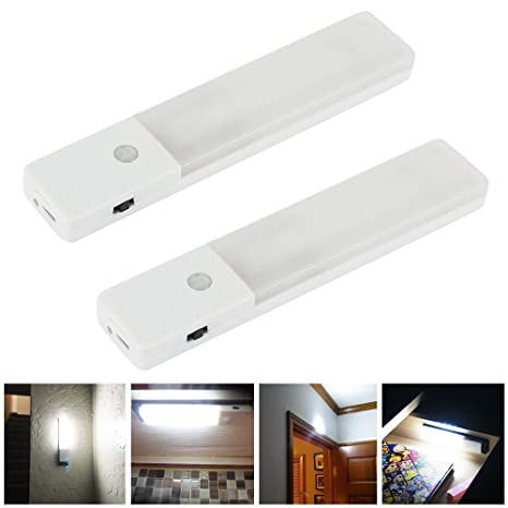 Zeefo 2 pack led night light motion sensor lights rechargeable built in lithium battery