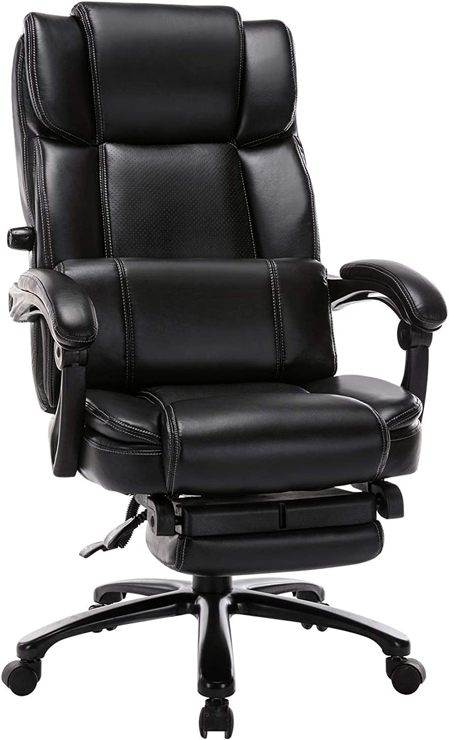 Big and Tall Reclining Office Chair - High Back Executive Computer Desk Chair with Footrest Adjustable Built-in Lumbar Support, Angle Recline Locking System, Thick Padding for Comfort