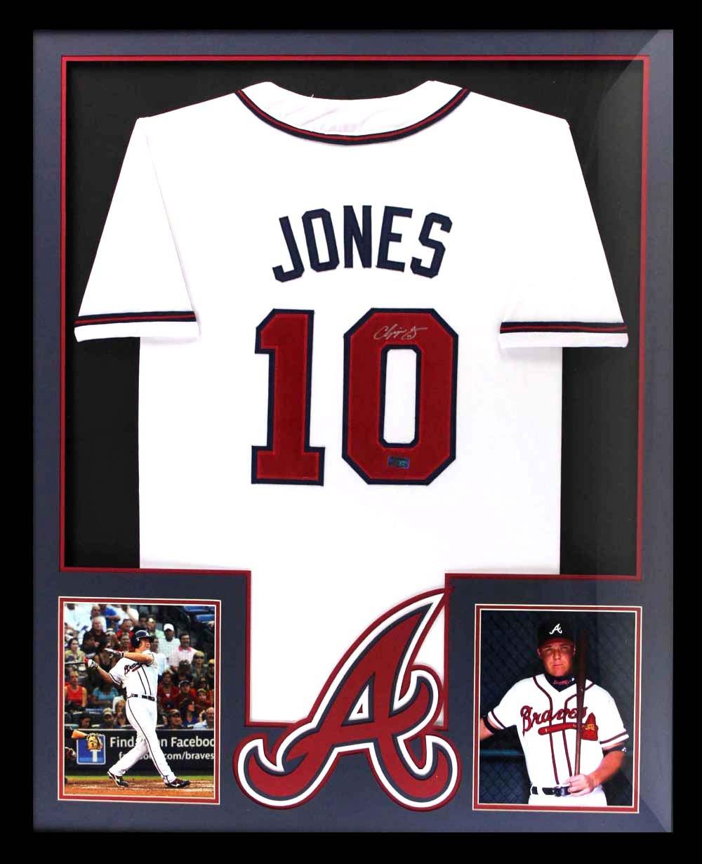 super popular 45281 ca0a2 Chipper Jones Autographed/Signed Atlanta Framed White Custom ...